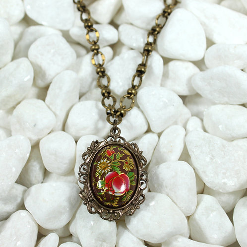 Vintage Japanese Tensha cabochon necklace