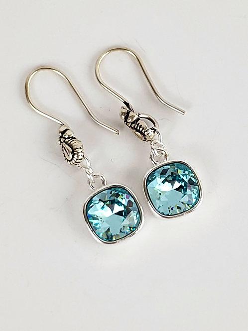 Women's square Blue Zircon Swarovski earrings