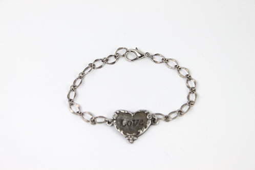 LOVE pewter heart bracelet