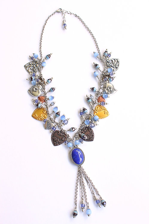 Women's statement necklace, featuring hearts and beads