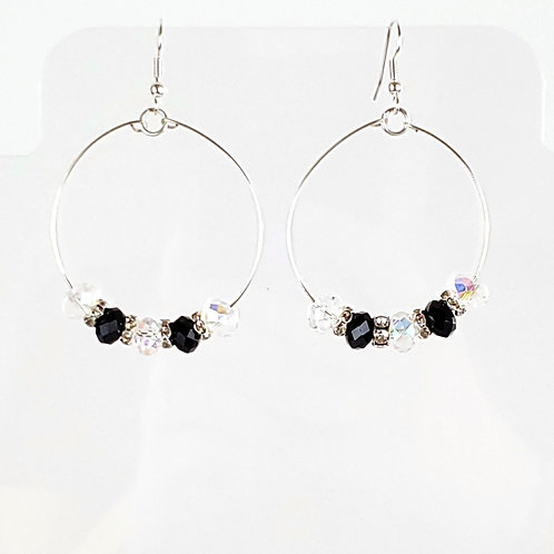 Women's large round hoop earrings, black and crystal