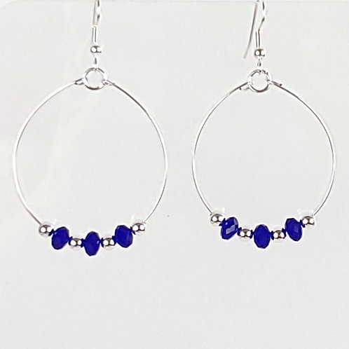 Women's large oval hoop earrings, cobalt blue and silver