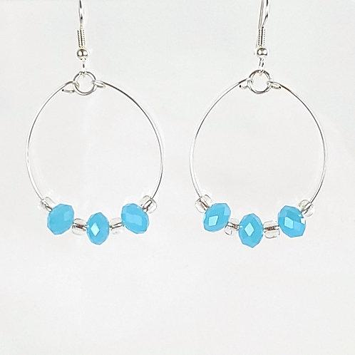 Women's large oval hoop earrings, aqua blue