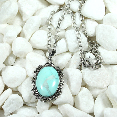 Fancy bezel necklace with dyed howlite