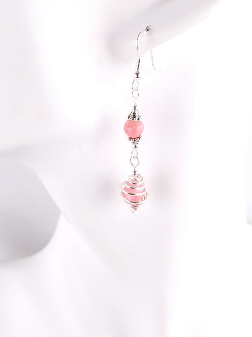 Pink Rhodocrosite and jade caged bead dangle earrings