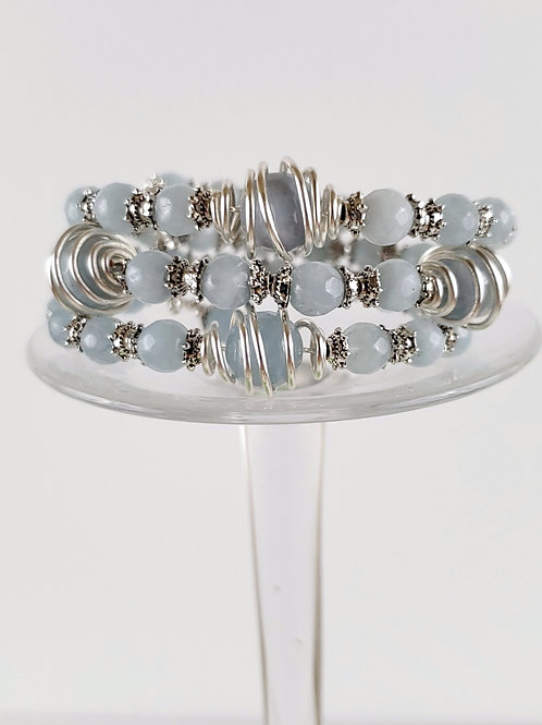 Memory Wire bracelet with caged beads