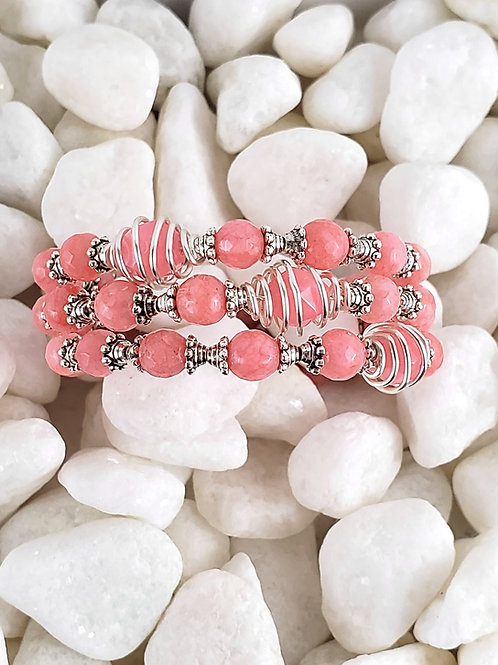 Pink Rhodochrosite and jade memory wire bracelet with caged beads