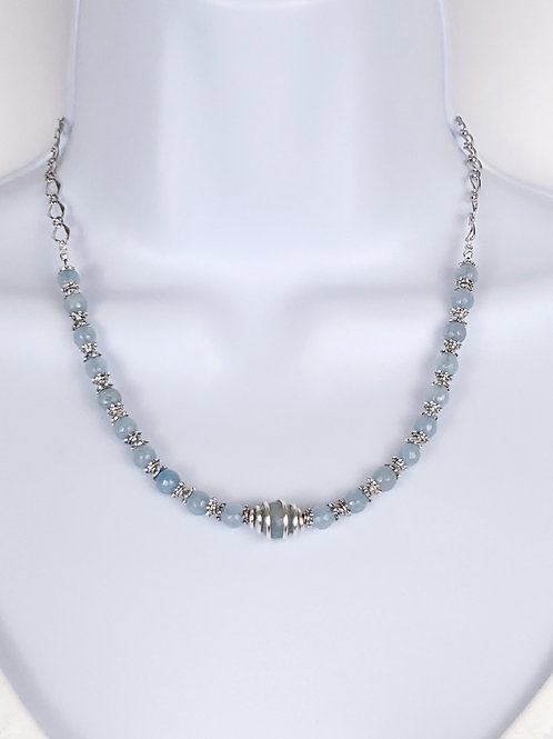 Aquamarine  jade necklace with caged bead focal