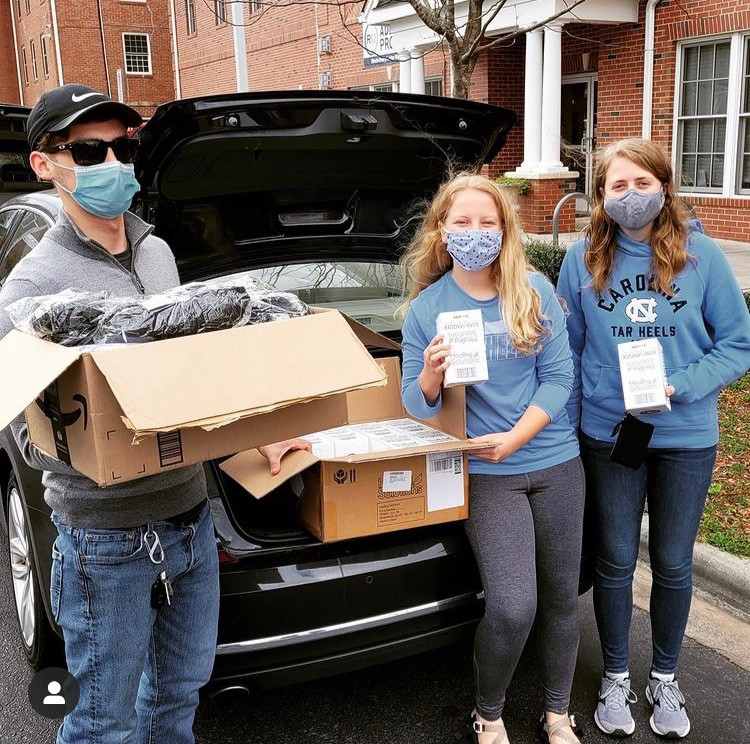 Andrea Cornel and Katy Waddell delivered masks and hand sanitizer to the Durham Rescue Mission.