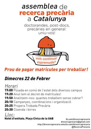 Vine a l'assemblea de D-Recerca Precària a Catalunya!