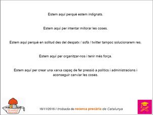 Presentació de diapositives de la I Trobada de Recerca Precària