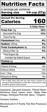 Nutz for cheeze - plain - Nutrition Labe