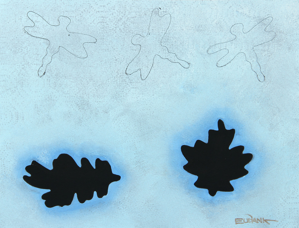 Three Dragonflies and Two Leaves