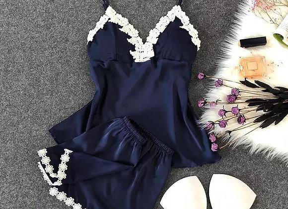 Pijama Bordes Blanco
