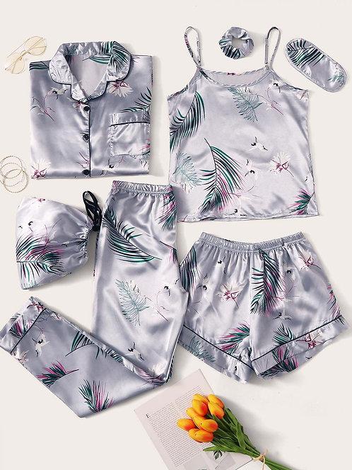 Pijama Tropical Lavanda 7 piezas