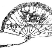 Blue Hand Fan with Egyptian Motif