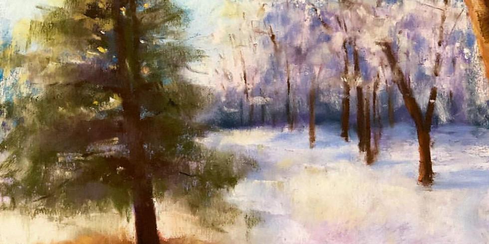 Pastel Winterscape Painting