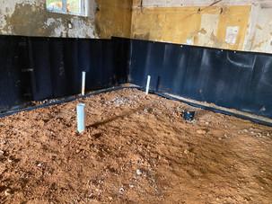 J - Drain Insllation Inside Existing Basement Walls.
