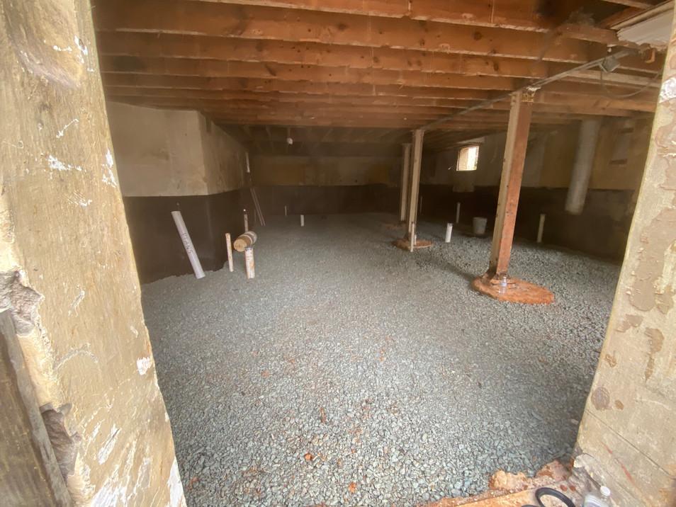 Blue Gravel 3/4 Inside Existing Basement