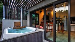 Wood fired hot tub & entertainment/bar area