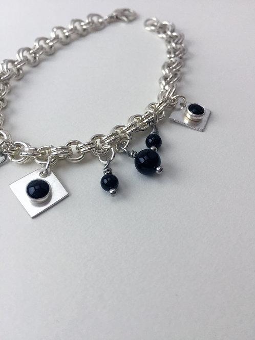 Sterling Silver Chain Mail Charm Bracelet - Elizabeth Bracelet