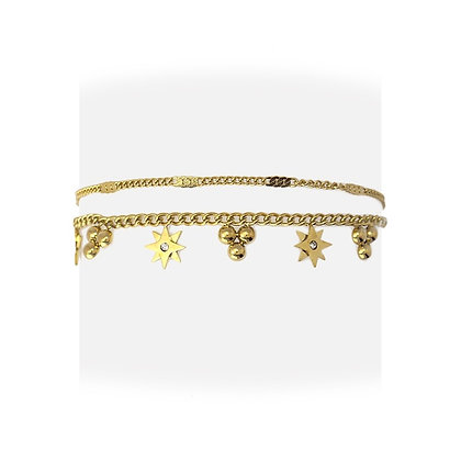 Pulsera Doble Charms Gold