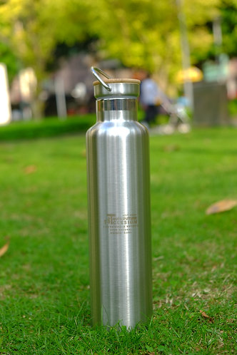 Stainless Steel & Bamboo Water Bottle - 1 Ltr