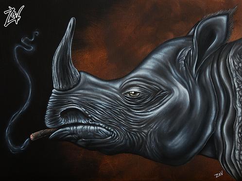 """""""Rhino Cigarillo"""" Gallery Wrap Canvas Print"""