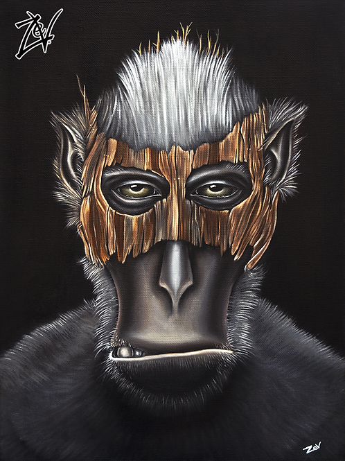 """Masked Macaque"" Gallery Wrap Canvas Print"