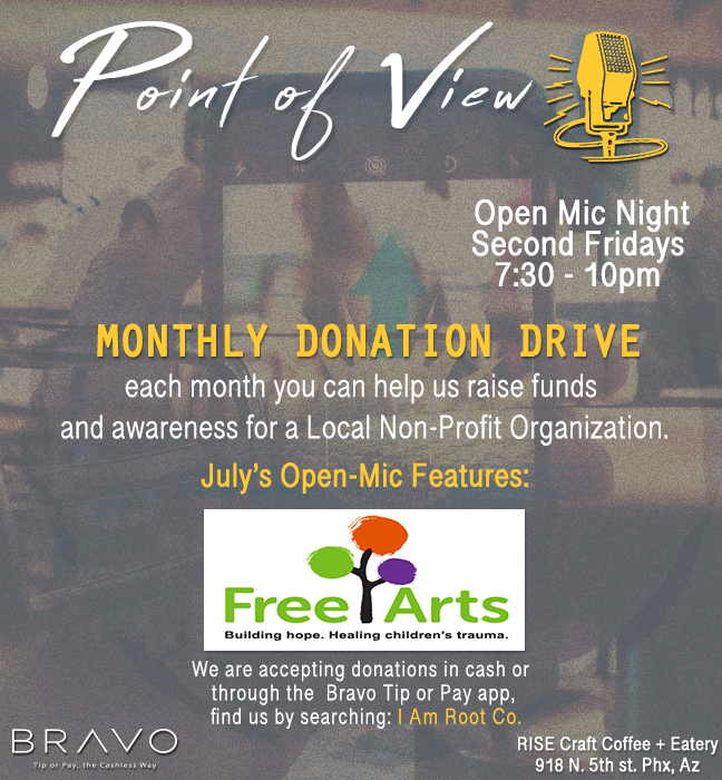 Free Arts Arizona at Point of View Open-Mic July 13th 2018