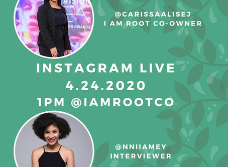 Niamey Thomas is on IG LIVE this Friday with Co-Owner Carissa Jackson