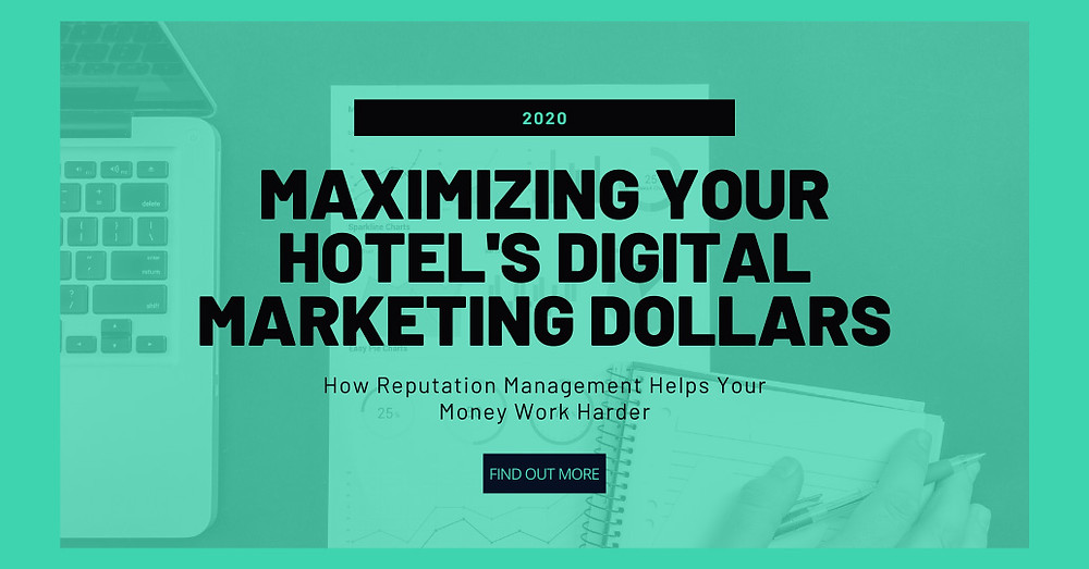 hotel digital marketing blog post - marketing items behind green overlay