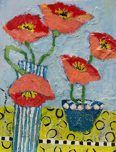 Poppies on Yellow Cloth
