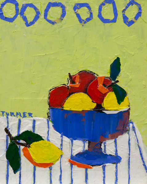Fruit in a Blue Bowl