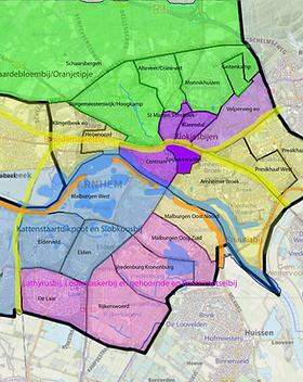 Kaart met wijken en adoptiebijen6-2-2020