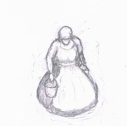 Tekening vrouw met emmer