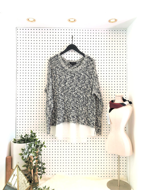 Layne Bryant Loose Knit Sweater with Sheer Detail Trim - Size 14/16