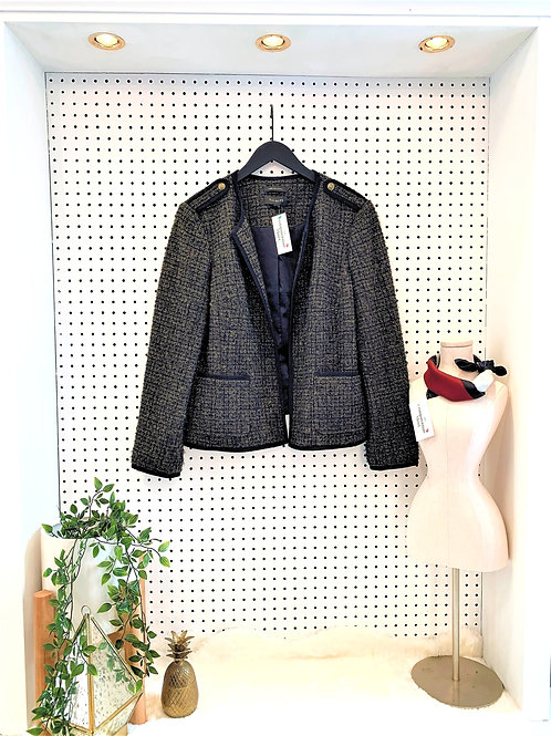 Talbots Tweed Blazer, Navy/Olive Green/Gold colour - Size 16