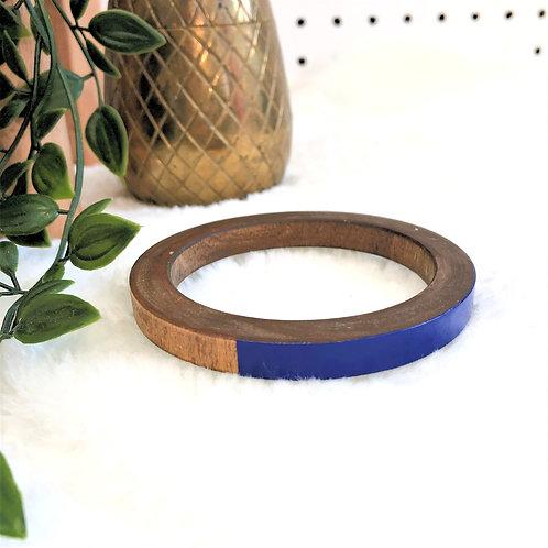 Wood Bangle with Cobalt Blue Detail