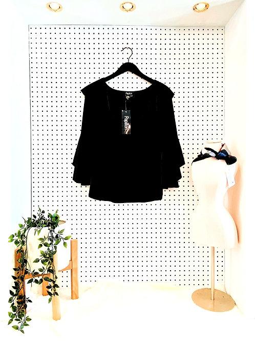 Papillon Velvet Blouse with Ruffle Neck and Bell Sleeve - Black