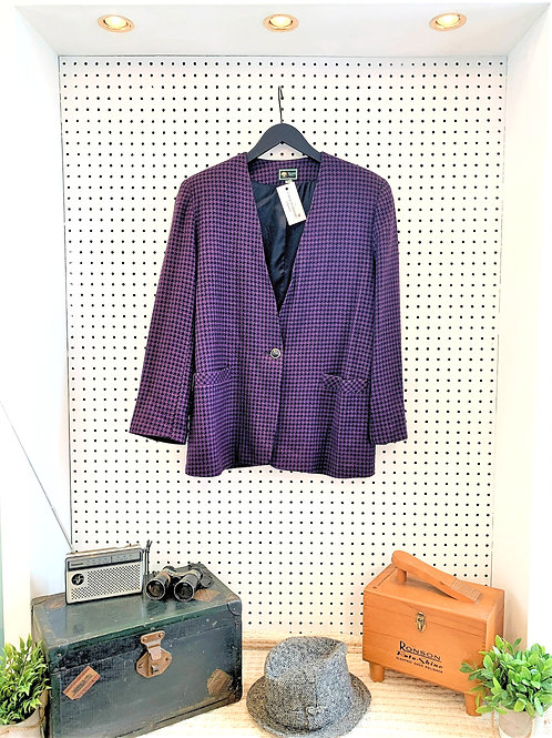 "80's/90's ""Seasons Classic"" Wool Blend Houndstooth Oversized Blazer - Size 14"
