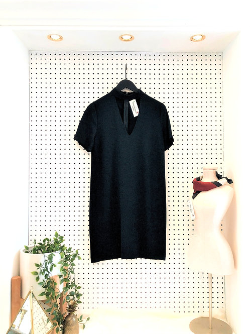 Zara Slightly Oversized Mock Neck Dress with Cut-out Neckline - Size Extra Small