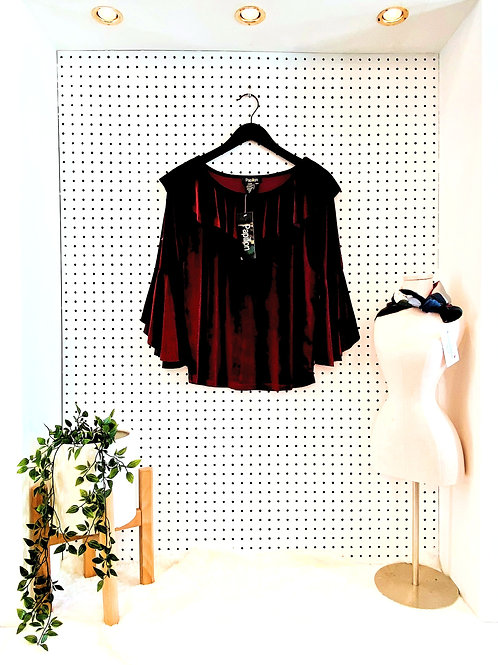 Papillon Velvet Blouse with Ruffle Neck and Bell Sleeve - Wine - Size Large