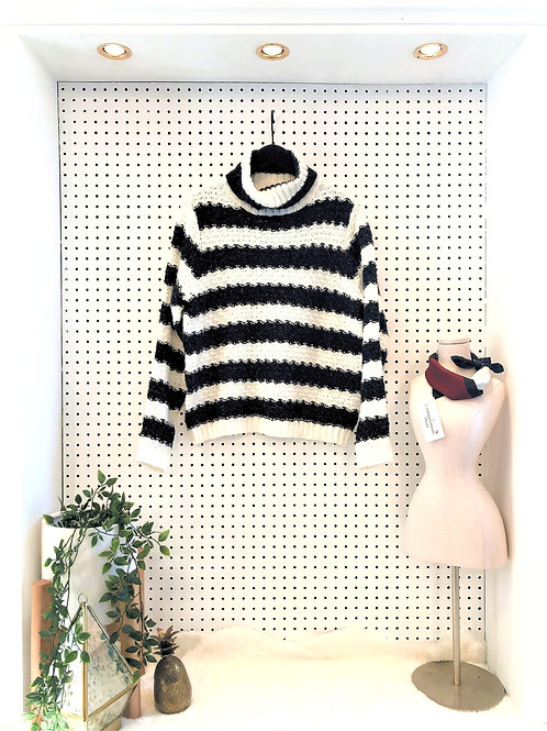 Press Oversized Cable Knit Turtleneck Sweater
