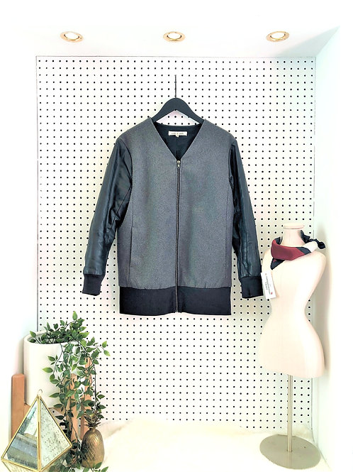 robbie & nikki Long Bomber Style  Jacket with Leather Sleeves - Size Small