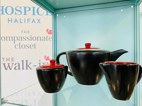 Tannex Stoneware Teapot with cream and sugar set