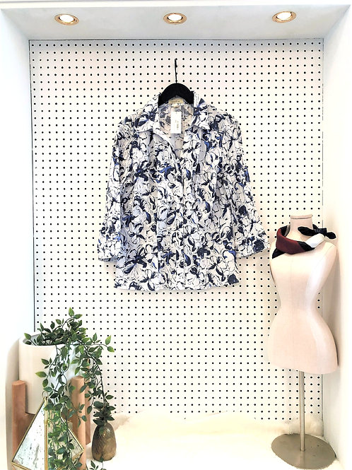 brina & em Blouse with Detailed Fabric, 3/4 Length Sleeve - Size Large