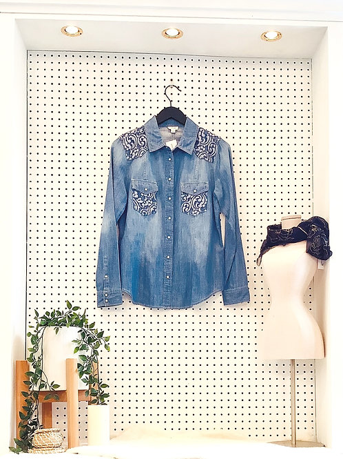 TribalJeans Denim Shirt with Lace Details - Size Small