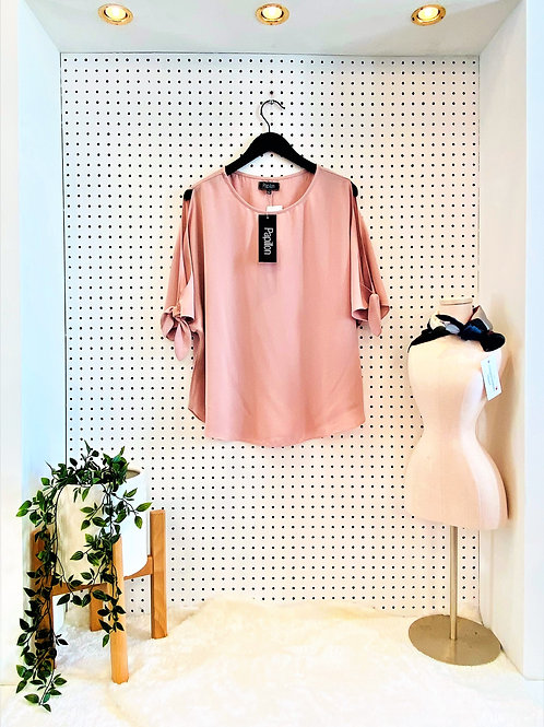 Papillon Tunic Blouse with Slit Sleeve - Dusty Rose