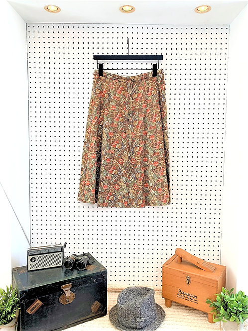 Floral Button Down A Line Skirt with Matchting Belt - Size 4/6